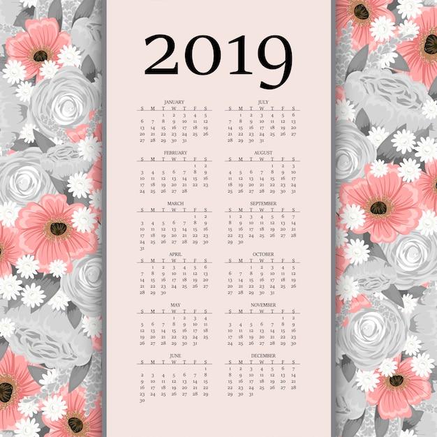 Calendario 2019 Moderno.Moderno Calendario Creativo 2019 Con Fiori Scaricare