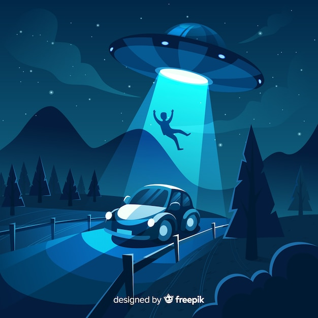 Moderno concetto di abduction ufo con design piatto Vettore gratuito