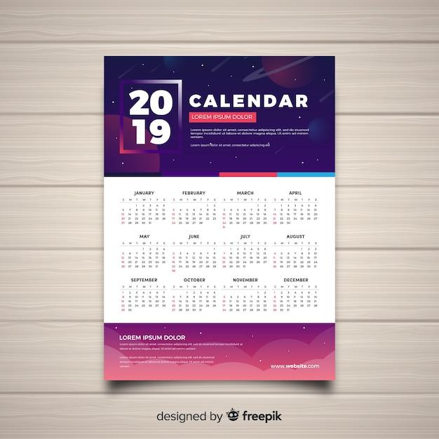 Calendario 2019 Moderno.Moderno Concetto Di Calendario 2019 Scaricare Vettori Gratis
