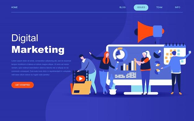 Moderno concetto di design piatto del marketing digitale Vettore Premium