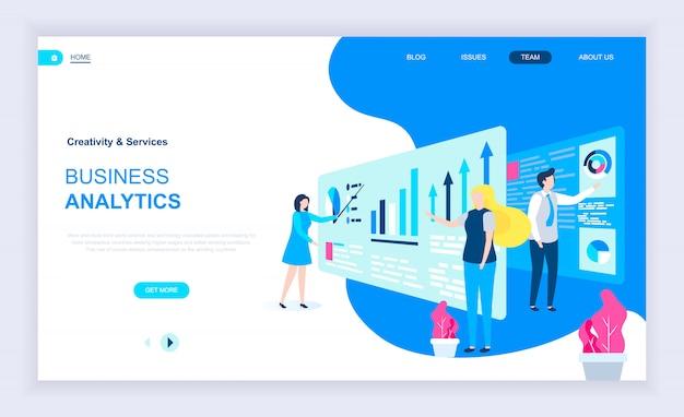 Moderno concetto di design piatto di business analytics Vettore Premium