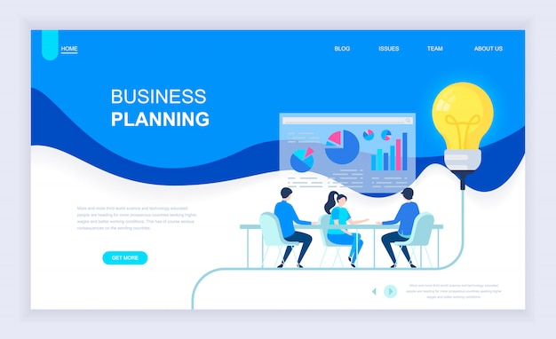 Moderno concetto di design piatto di business planning Vettore Premium