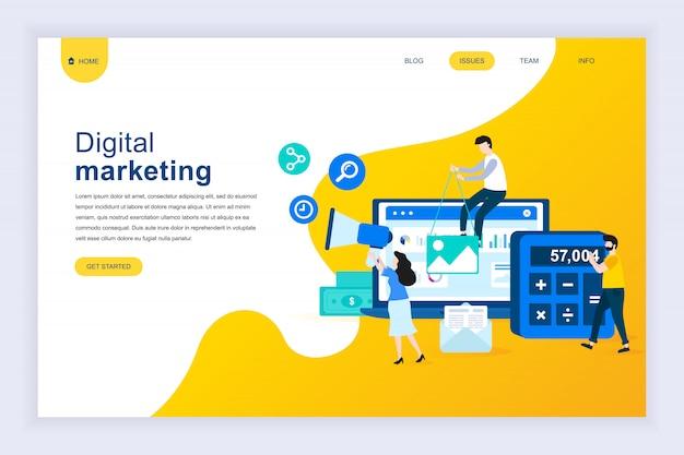 Moderno concetto di design piatto di digital marketing per sito web Vettore Premium