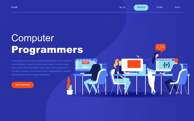 Moderno concetto di design piatto di programmatori di computer Vettore Premium