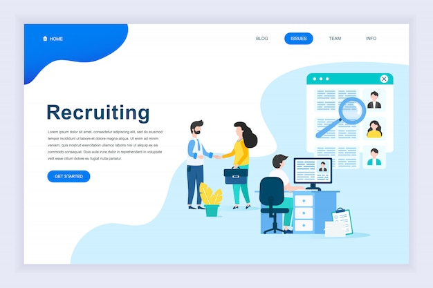 Moderno concetto di design piatto di reclutamento di imprese Vettore Premium