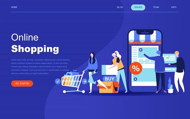 Moderno concetto di design piatto di shopping online Vettore Premium