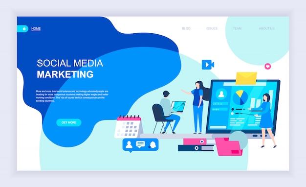 Moderno concetto di design piatto di social media marketing Vettore Premium