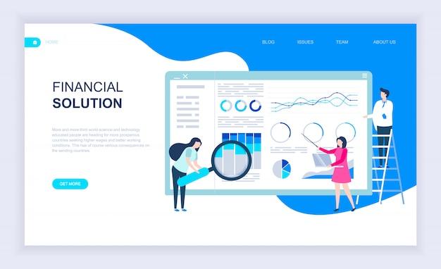 Moderno concetto di design piatto di soluzione finanziaria Vettore Premium