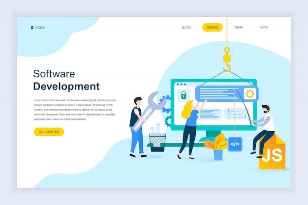 Moderno concetto di design piatto di sviluppo software Vettore Premium