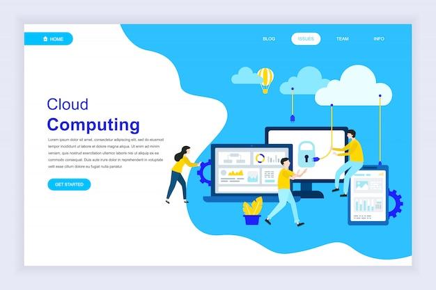 Moderno concetto di design piatto di tecnologia cloud per sito web Vettore Premium