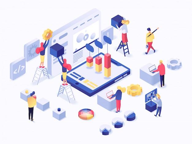 Moderno concetto isometrico piatto di sviluppo web Vettore Premium