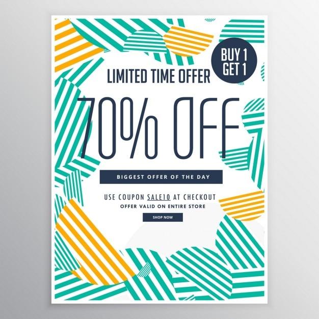Moderno modello di brochure promozionale di vendita di sconto alla moda con linee astratte forme Vettore gratuito