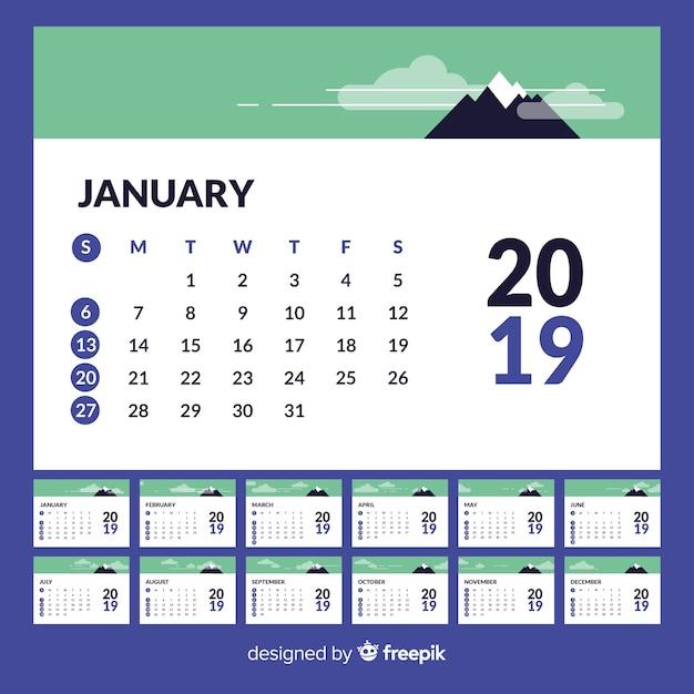 Calendario 2019 Moderno.Moderno Modello Di Calendario 2019 Scaricare Vettori Gratis