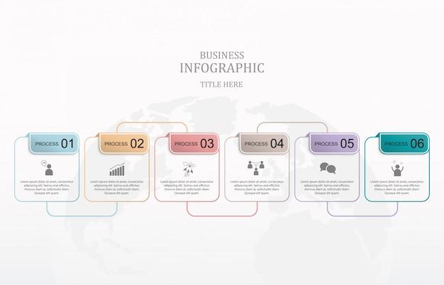 Moderno quadrato sei infografica scatola. Vettore Premium