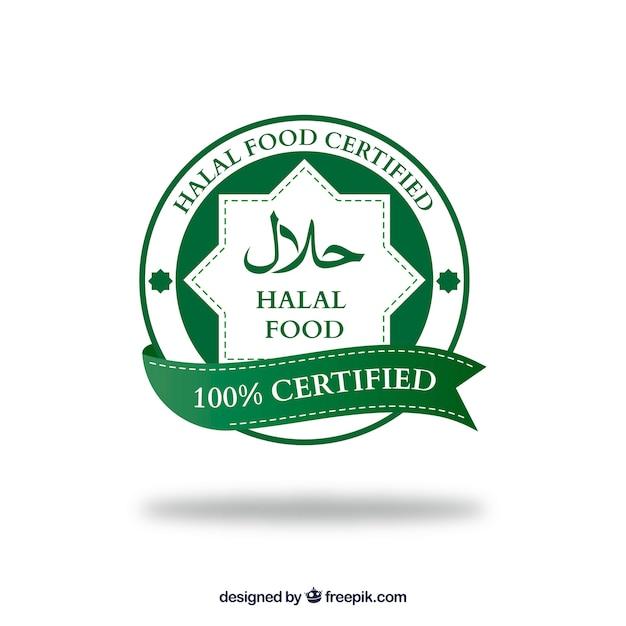 Moderno timbro halal con design piatto Vettore gratuito