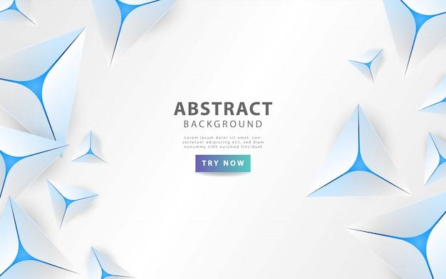 Moderno triangolo grigio astratto con linea blu Vettore Premium