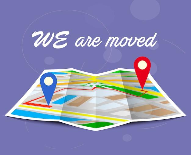 Modifica dell'indirizzo, nuova posizione sulla mappa di navigazione. Vettore Premium