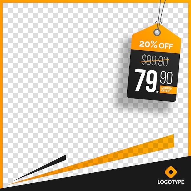 Modifica editabile creativa di vendita con fondo astratto vuoto Vettore Premium