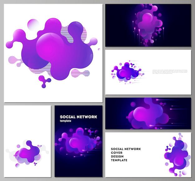 Moduli di social network moderni in formati popolari. Vettore Premium
