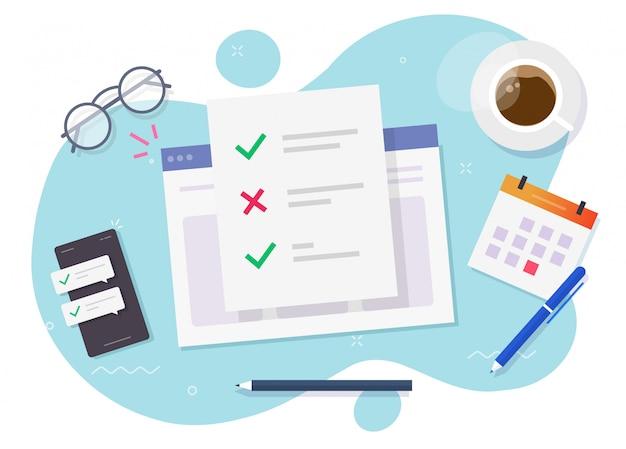 Modulo di sondaggio online documento della lista di controllo sul luogo di lavoro dello studio Vettore Premium