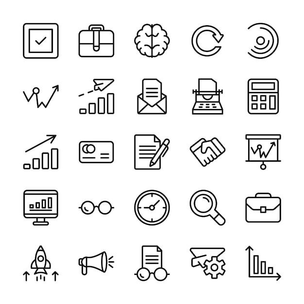 Modulo, versione del prodotto, icone della linea di presentazione Vettore Premium