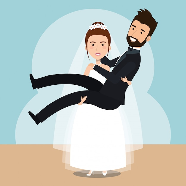 Moglie che solleva i personaggi sposati in casa Vettore gratuito