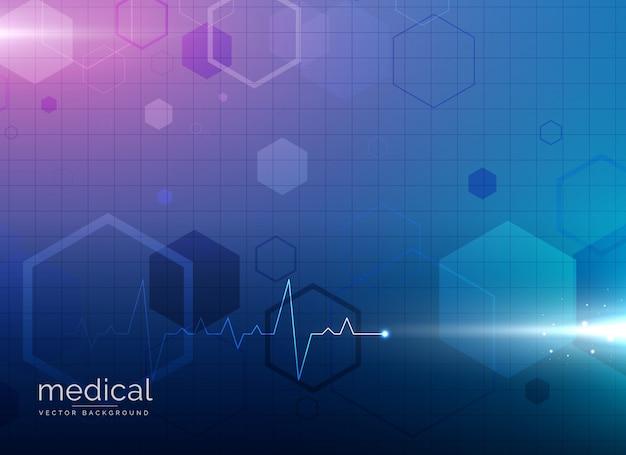 Molecola astratta medicina medica o farmacia sfondo blu Vettore gratuito