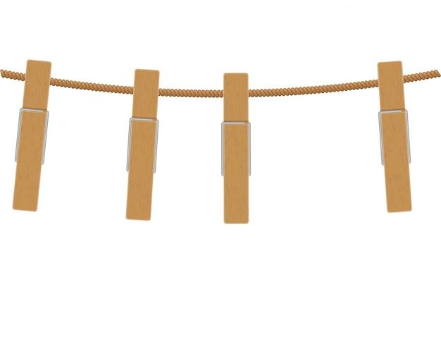 Mollette di legno su corda Vettore Premium