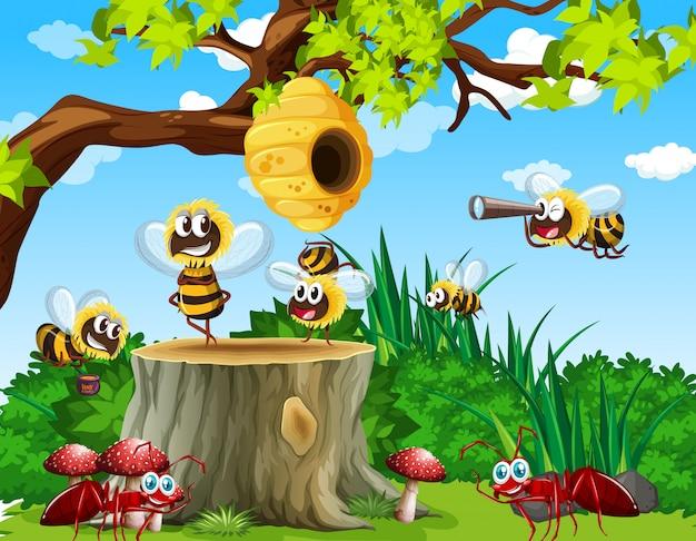 Molte api e formiche vivono nella scena del giardino con nido d'ape Vettore Premium