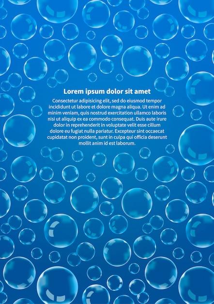 Molte bolle di sapone su formato a4 verticale blu e astratto del fondo Vettore Premium