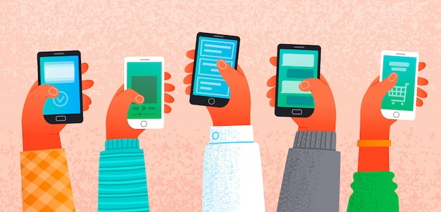 Molte mani che tengono gli smartphone. il concetto di lavoro e comunicazione su internet Vettore Premium