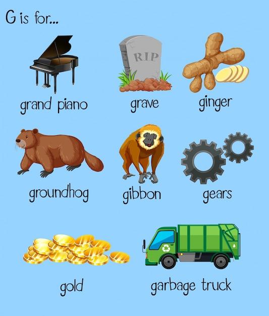 Molte parole per l'alfabeto g Vettore Premium