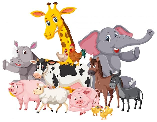 Molti animali selvatici e animali da fattoria Vettore Premium