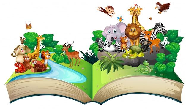 Molti animali selvatici nella foresta Vettore gratuito