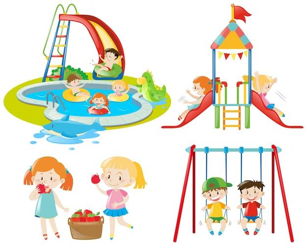 Molti bambini che giocano al parco giochi e nella piscina Vettore gratuito