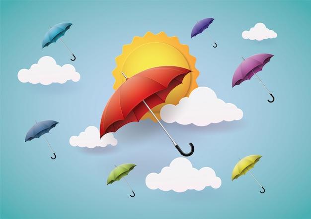 Molto bello, ombrello colorato. Vettore Premium