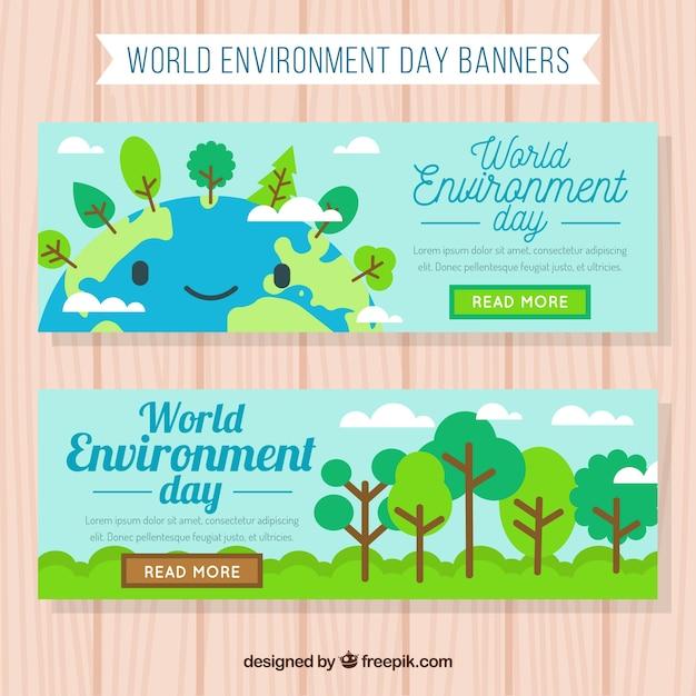 Mondiale Bandiera Ambiente Giorno Con Il Pianeta Terra Sorridente