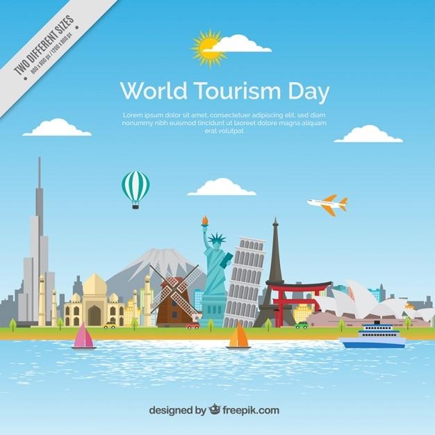 Mondiale del turismo sfondo giornata con monumenti Vettore gratuito