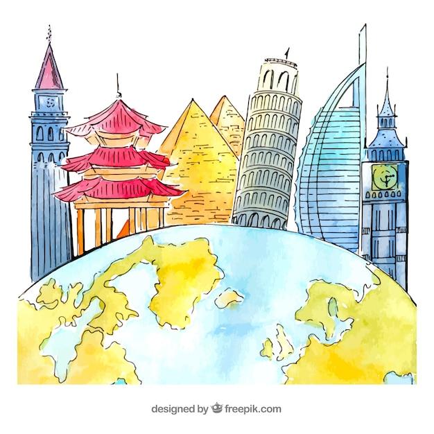 Mondo con sfondo di punti di riferimento in stile acquerello Vettore gratuito