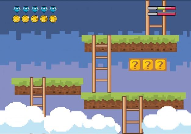 Mondo di gioco arcade e scena di pixel Vettore gratuito