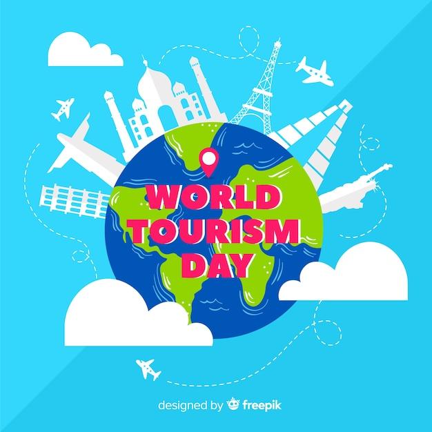 Mondo di giornata turistica disegnata a mano in nuvole Vettore gratuito