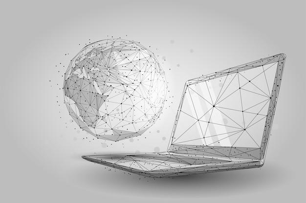 Mondo globale wireframe basso poli. pianeta terra sullo schermo del laptop Vettore Premium