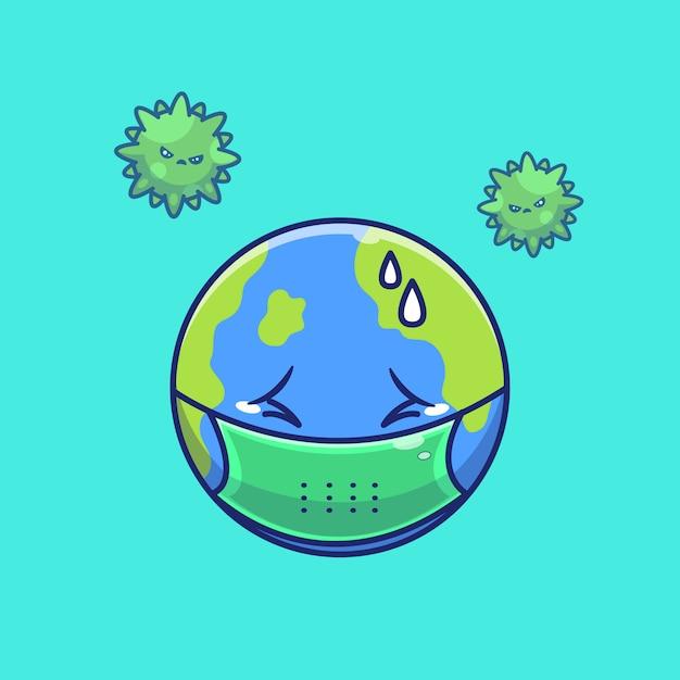 Mondo spavento corona virus illustration. personaggio dei cartoni animati di corona mascotte. concetto del mondo isolato Vettore Premium