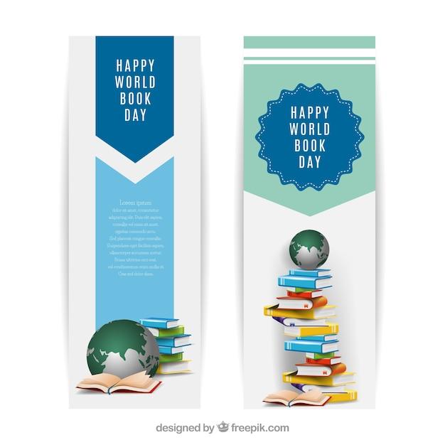 Mondo striscioni libro giorno in design realistico Vettore gratuito