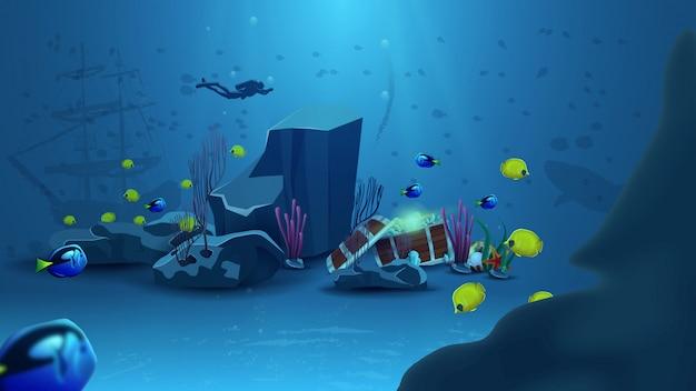 Mondo subacqueo, illustrazione vettoriale con scrigno del tesoro Vettore Premium