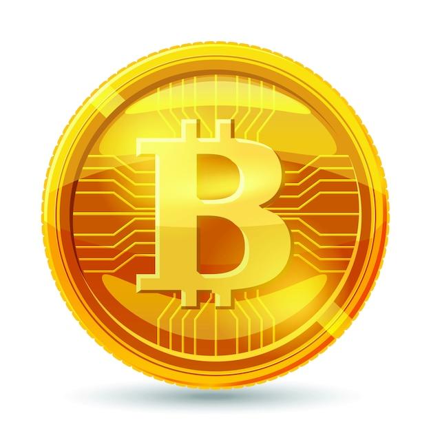 Moneta bitcoin dorata. Vettore Premium