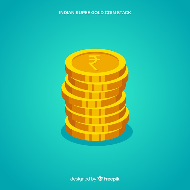 Moneta della moneta d'oro della rupia indiana Vettore gratuito