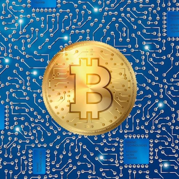 Moneta di bitcoin realistico 3d di vettore Vettore Premium