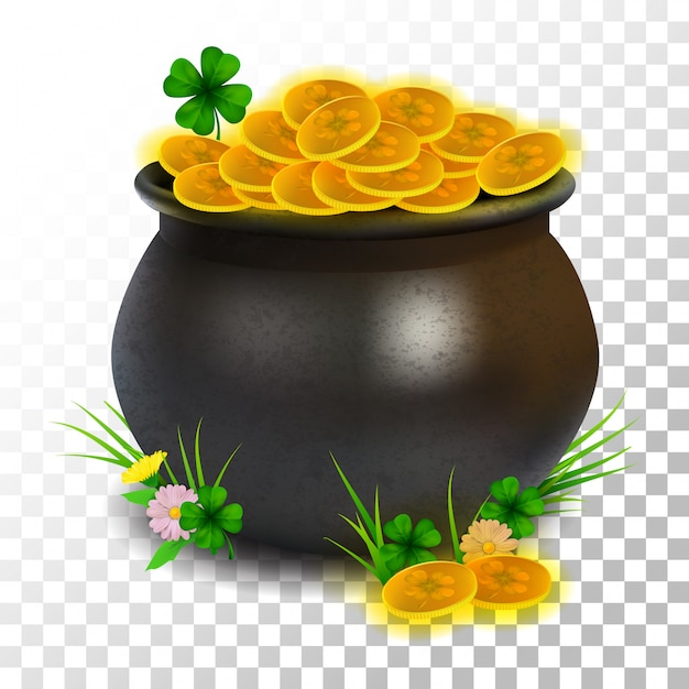 Moneta realistica del vaso del giorno di st patrick dell'illustrazione su trasparente Vettore Premium