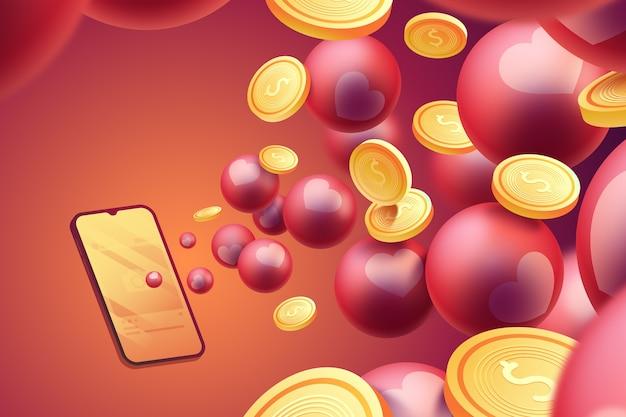 Monete 3d che escono dal telefono Vettore gratuito